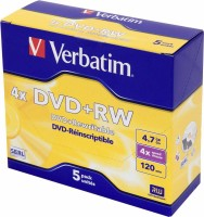 Диск DVD+RW Verbatim 4.7Gb 4x Jewel case (5шт) (43229)