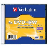 Диск DVD+RW Verbatim 4.7Gb 4x Jewel case (1шт) (43228/43229/43246)