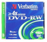 Диск DVD-RW Verbatim 4.7Gb 4x Jewel case (1шт) (43285)