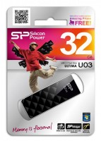 Флеш Диск Silicon Power 32Gb Ultima U03 SP032GBUF2U03V1K USB2.0 черный